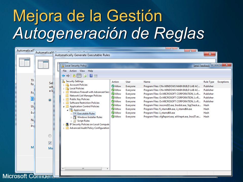 Mejora de la Gestión Autogeneración de Reglas Microsoft Confidential