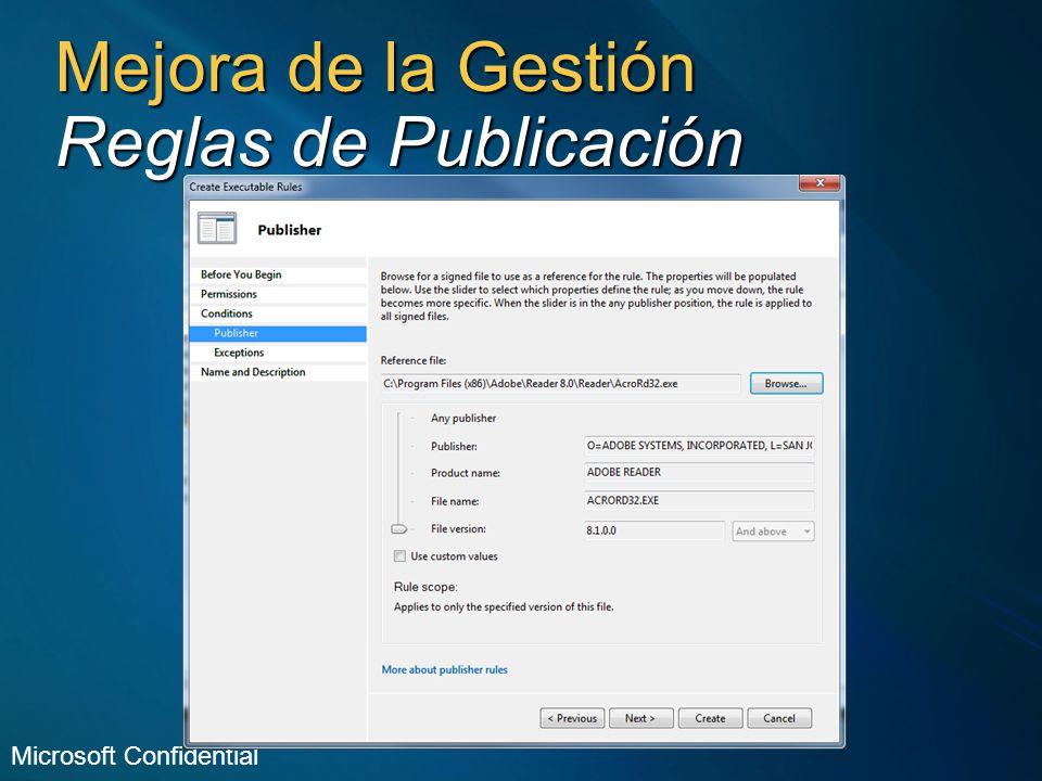 Mejora de la Gestión Reglas de Publicación Microsoft Confidential