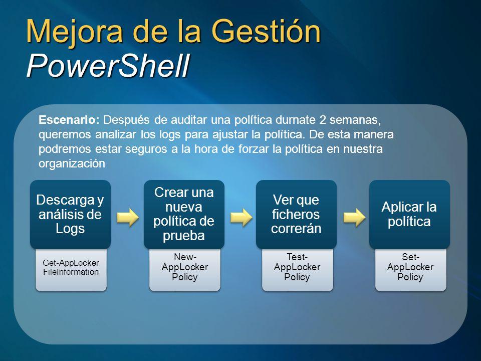 Mejora de la Gestión PowerShell Escenario: Después de auditar una política durnate 2 semanas, queremos analizar los logs para ajustar la política. De