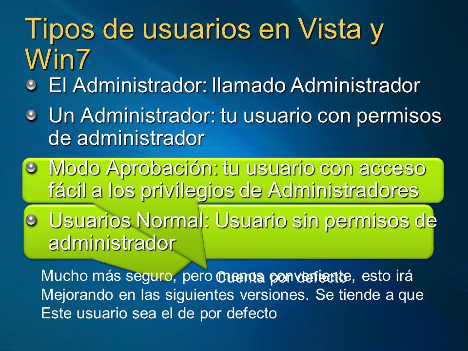 Tipos de usuarios en Vista y Win7 El Administrador: llamado Administrador Un Administrador: tu usuario con permisos de administrador Modo Aprobación: