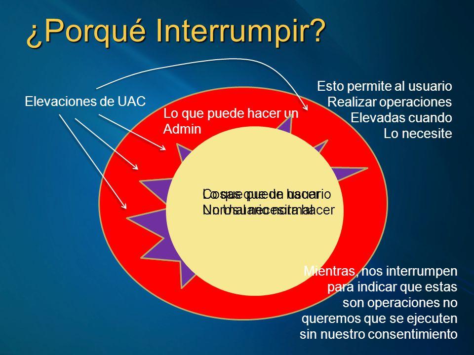 ¿Porqué Interrumpir? Lo que puede hacer un Admin Lo que puede hacer Un Usuario normal Cosas que un usuario Normal necesita hacer Elevaciones de UAC Es