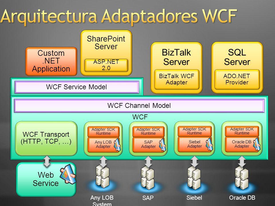 Web Service BizTalk Server BizTalk WCF Adapter WCF Channel Model WCF Service Model WCF Transport (HTTP, TCP, …) WCF Custom.NET Application SharePoint Server ASP.NET 2.0 SAP Adapter Adapter SDK Runtime Siebel Adapter Adapter SDK Runtime Oracle DB Adapter Adapter SDK Runtime SQL Server ADO.NET Provider SAP SiebelOracle DBOracle DB Any LOB System Any LOB Adapter Adapter SDK Runtime
