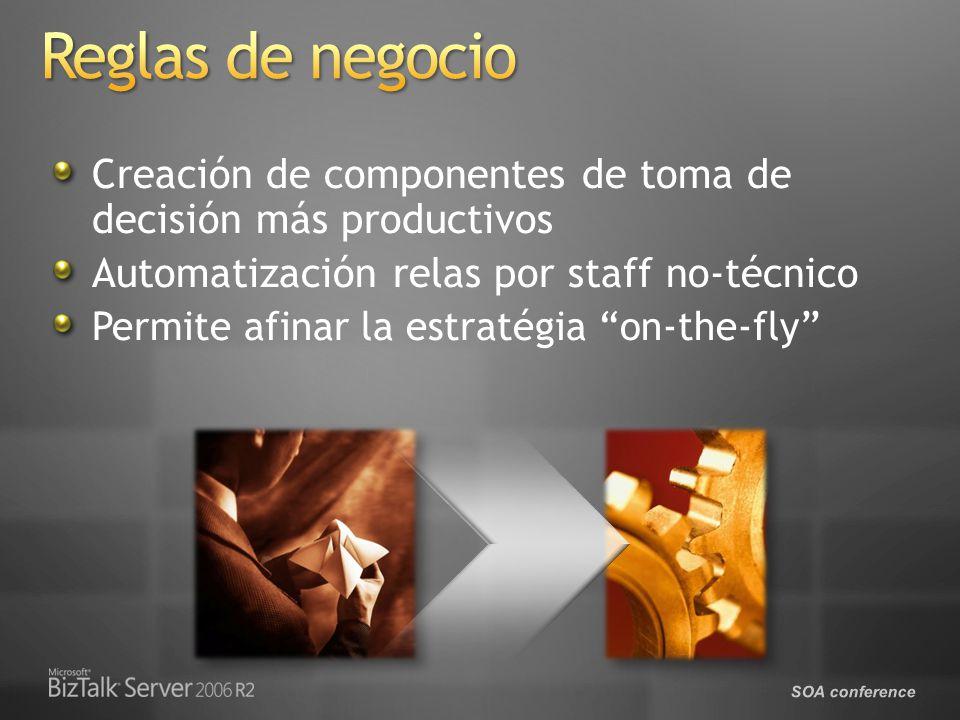 SOA conference Creación de componentes de toma de decisión más productivos Automatización relas por staff no-técnico Permite afinar la estratégia on-the-fly