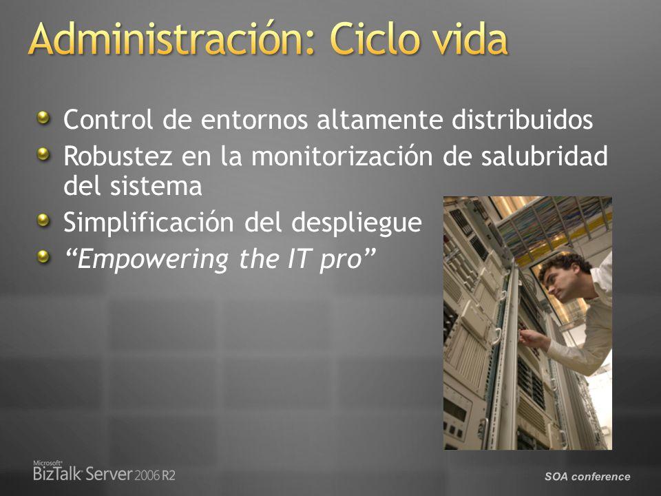 SOA conference Control de entornos altamente distribuidos Robustez en la monitorización de salubridad del sistema Simplificación del despliegue Empowering the IT pro