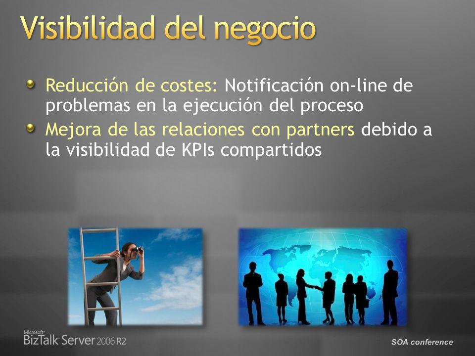 SOA conference Reducción de costes: Notificación on-line de problemas en la ejecución del proceso Mejora de las relaciones con partners debido a la visibilidad de KPIs compartidos