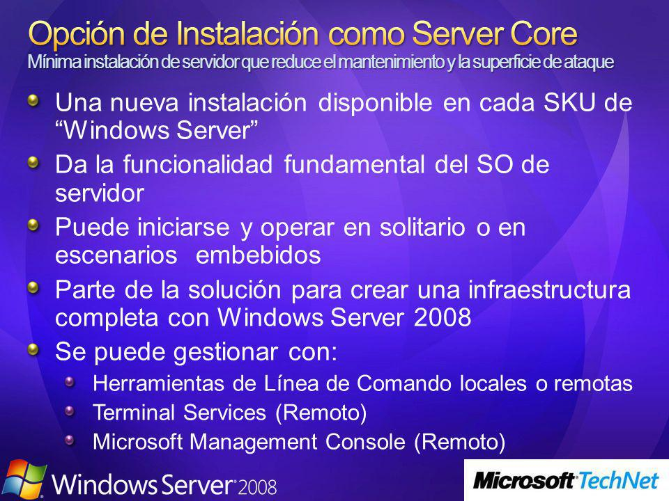 Una nueva instalación disponible en cada SKU de Windows Server Da la funcionalidad fundamental del SO de servidor Puede iniciarse y operar en solitari