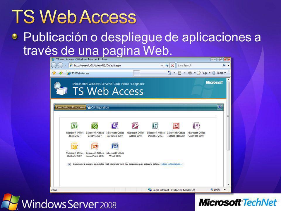 Publicación o despliegue de aplicaciones a través de una pagina Web.