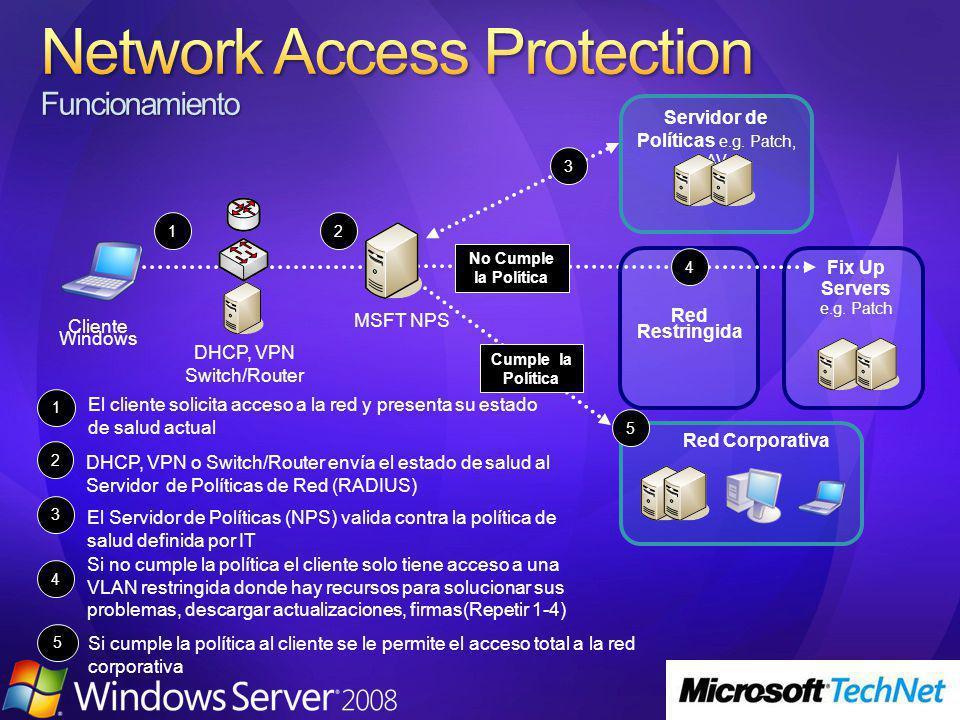 No Cumple la Política 1 Red Restringida El cliente solicita acceso a la red y presenta su estado de salud actual 1 4 Si no cumple la política el cliente solo tiene acceso a una VLAN restringida donde hay recursos para solucionar sus problemas, descargar actualizaciones, firmas(Repetir 1-4) 2 DHCP, VPN o Switch/Router envía el estado de salud al Servidor de Políticas de Red (RADIUS) 5 Si cumple la política al cliente se le permite el acceso total a la red corporativa MSFT NPS 3 Servidor de Políticas e.g.