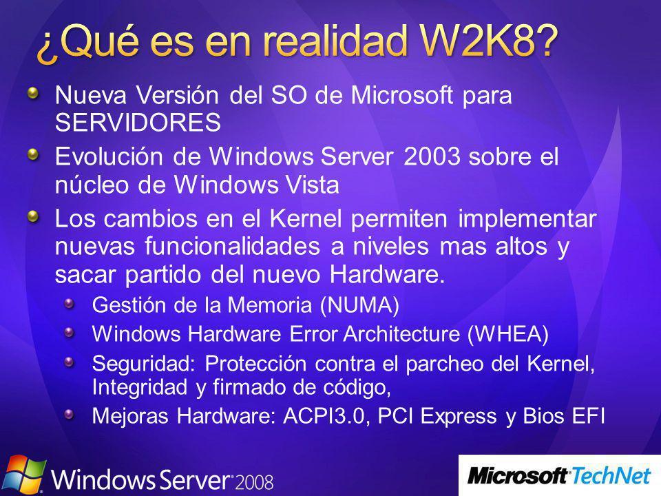Nueva Versión del SO de Microsoft para SERVIDORES Evolución de Windows Server 2003 sobre el núcleo de Windows Vista Los cambios en el Kernel permiten implementar nuevas funcionalidades a niveles mas altos y sacar partido del nuevo Hardware.
