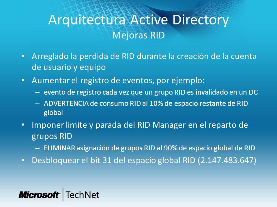 Arquitectura Active Directory Mejoras RID Arreglado la perdida de RID durante la creación de la cuenta de usuario y equipo Aumentar el registro de eve