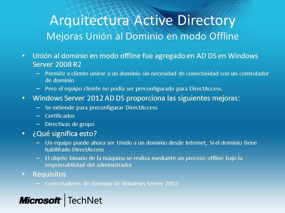 Arquitectura Active Directory Mejoras Unión al Dominio en modo Offline Unión al dominio en modo offline fue agregado en AD DS en Windows Server 2008 R