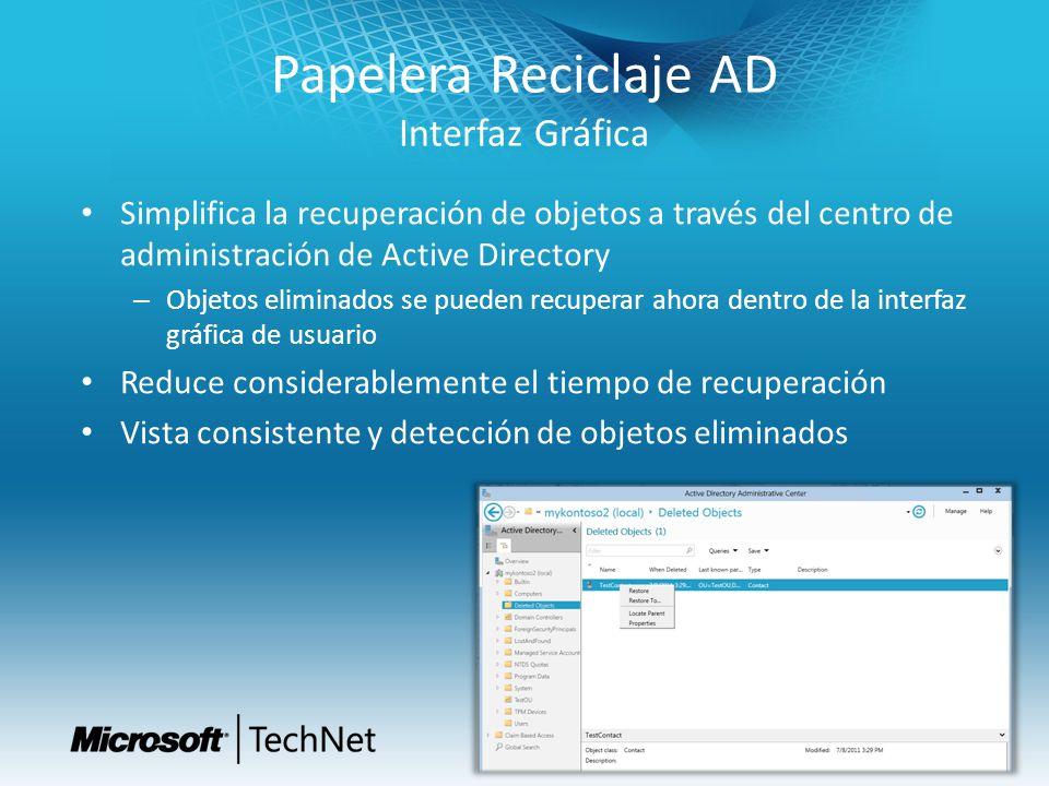 Papelera Reciclaje AD Interfaz Gráfica Simplifica la recuperación de objetos a través del centro de administración de Active Directory – Objetos elimi