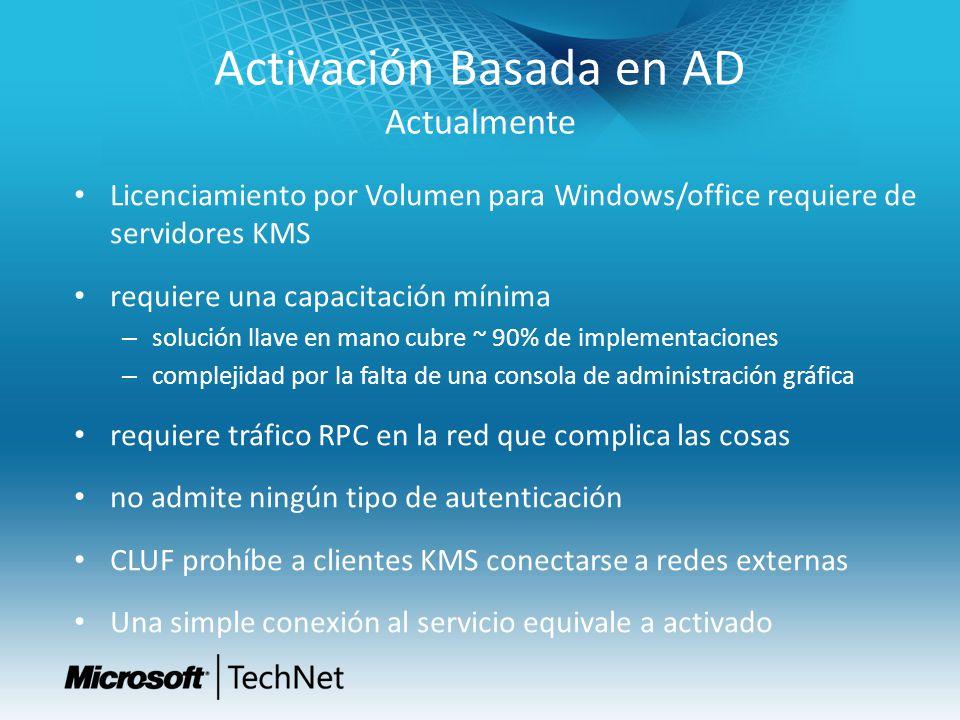 Activación Basada en AD Actualmente Licenciamiento por Volumen para Windows/office requiere de servidores KMS requiere una capacitación mínima – soluc
