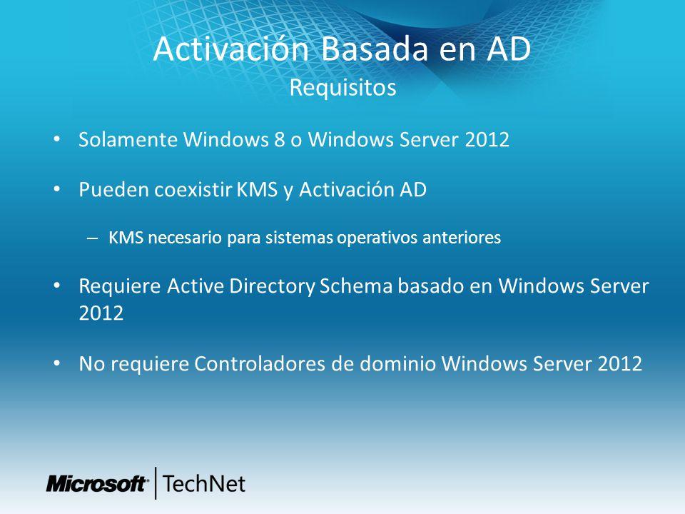 Activación Basada en AD Requisitos Solamente Windows 8 o Windows Server 2012 Pueden coexistir KMS y Activación AD – KMS necesario para sistemas operat