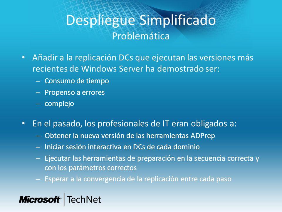 Despliegue Simplificado Problemática Añadir a la replicación DCs que ejecutan las versiones más recientes de Windows Server ha demostrado ser: – Consu