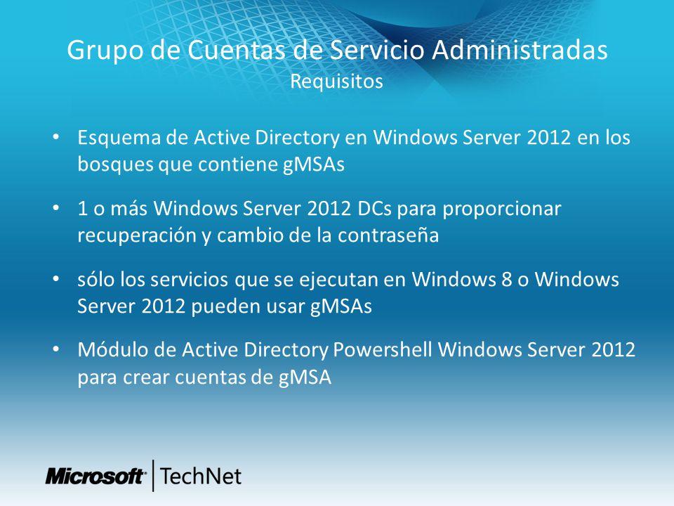 Grupo de Cuentas de Servicio Administradas Requisitos Esquema de Active Directory en Windows Server 2012 en los bosques que contiene gMSAs 1 o más Win