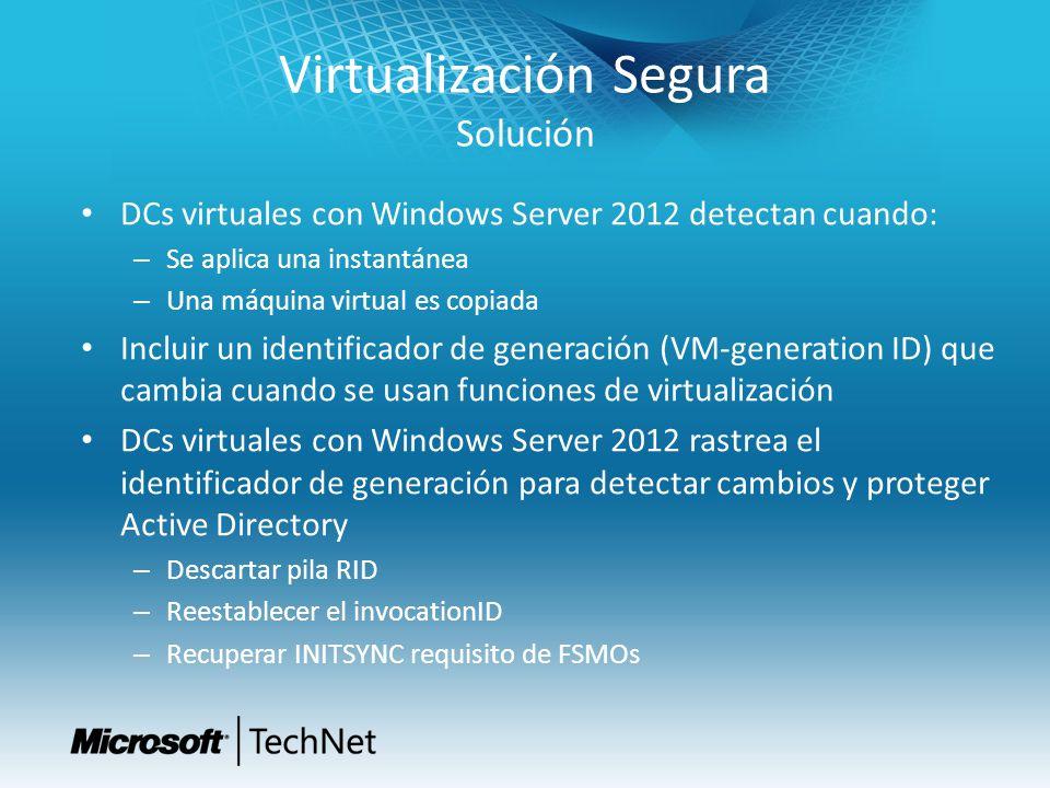 Virtualización Segura Solución DCs virtuales con Windows Server 2012 detectan cuando: – Se aplica una instantánea – Una máquina virtual es copiada Inc
