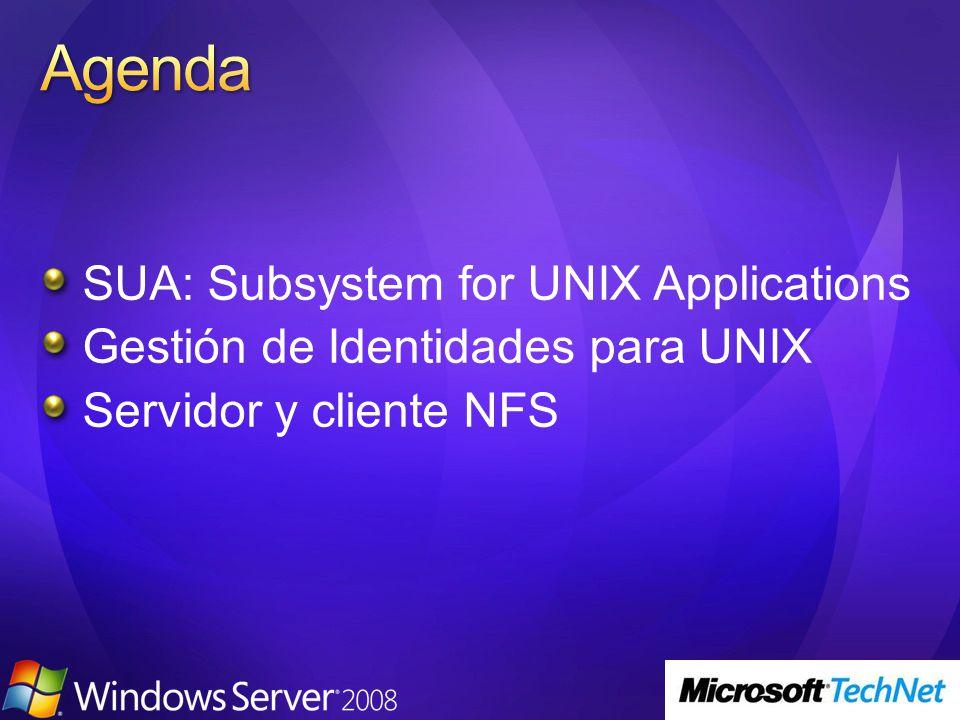 SUA ofrece la infraestructura básica para correr aplicaciones y scripts UNIX en Windows Server Subsistema nativo que reside sobre el kernel, al igual que el subsistema win32 Semántica y llamadas del sistema UNIX completas Se instala como una Característica de Windows Server 2008 Soportado en Server Core