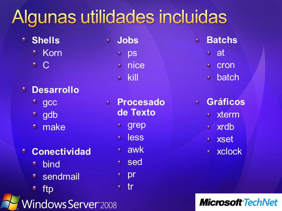 Shells Korn C Desarrollo gcc gdb make Conectividad bind sendmail ftp Jobs ps nice kill Procesado de Texto grep less awk sed pr tr Batchs at cron batch