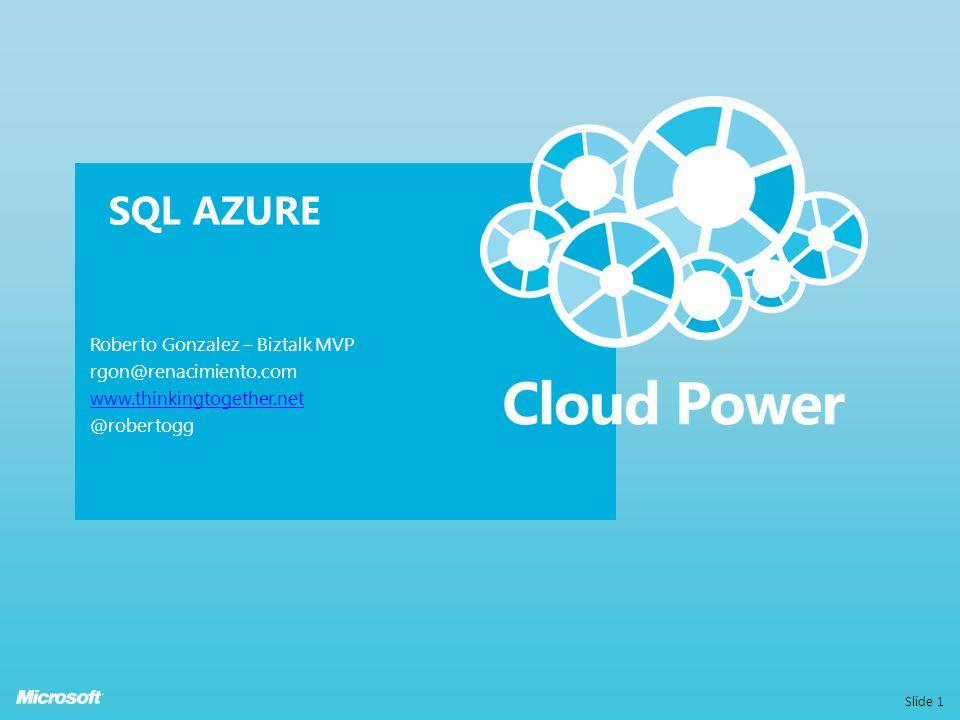 MICROSOFT SQL AZURE Modelo relacional de SQL Server Usa APIs & tools existentes Construida para la nube con alta disponibilidad y escalable Feedback: Yo quiero una base de datos en la nube Enfocado a combinar las mejoras características de SQL Server en un entorno de gran escala
