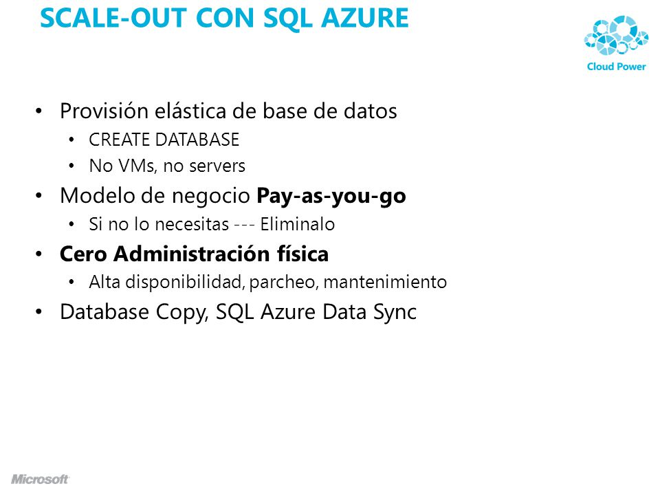 SCALE-OUT CON SQL AZURE Provisión elástica de base de datos CREATE DATABASE No VMs, no servers Modelo de negocio Pay-as-you-go Si no lo necesitas --- Eliminalo Cero Administración física Alta disponibilidad, parcheo, mantenimiento Database Copy, SQL Azure Data Sync