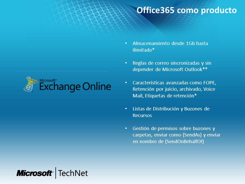 Office365 como producto Almacenamiento desde 1Gb hasta ilimitado* Reglas de correo sincronizadas y sin depender de Microsoft Outlook** Características