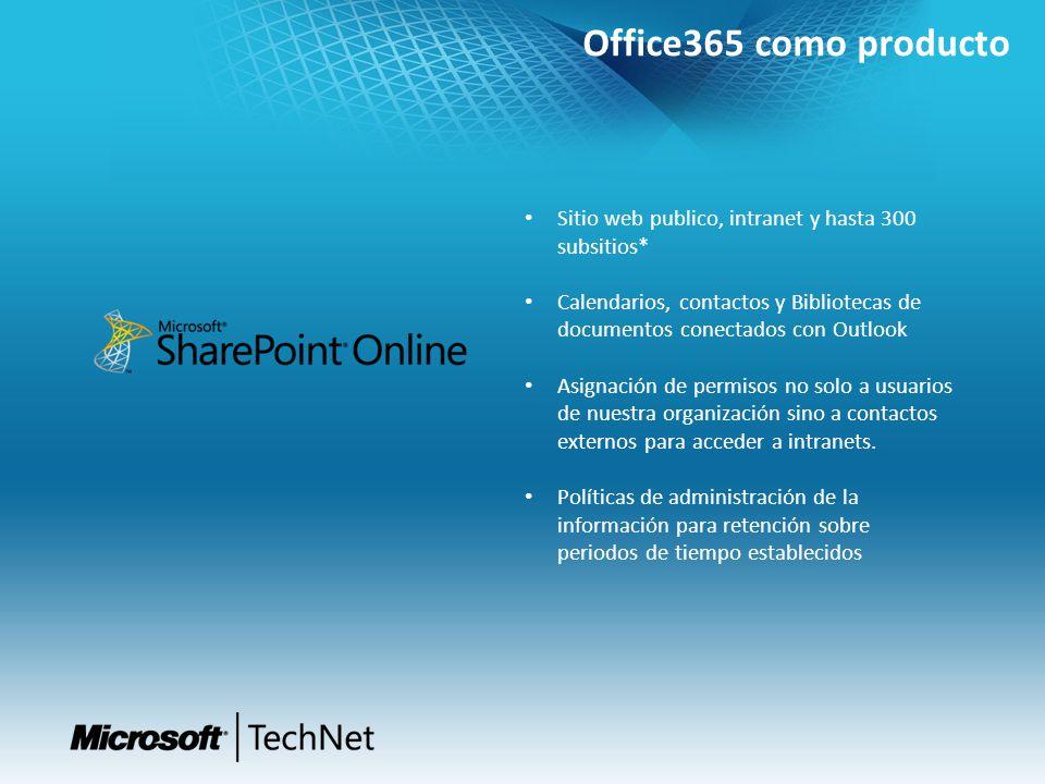 Office365 como producto Sitio web publico, intranet y hasta 300 subsitios* Calendarios, contactos y Bibliotecas de documentos conectados con Outlook A