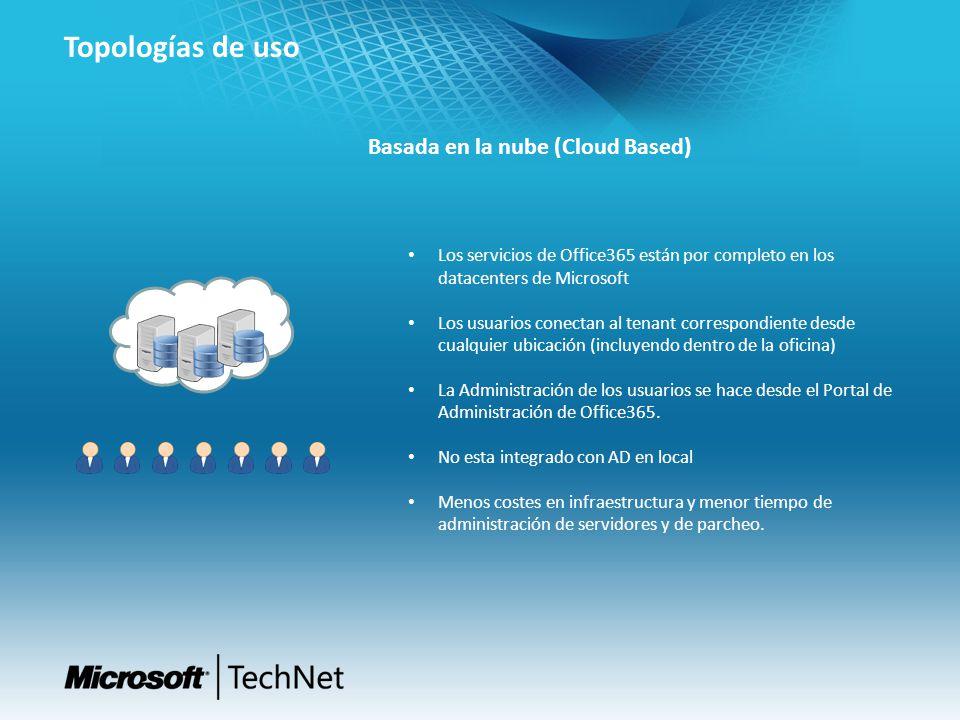 Topologías de uso Basada en la nube (Cloud Based) Los servicios de Office365 están por completo en los datacenters de Microsoft Los usuarios conectan