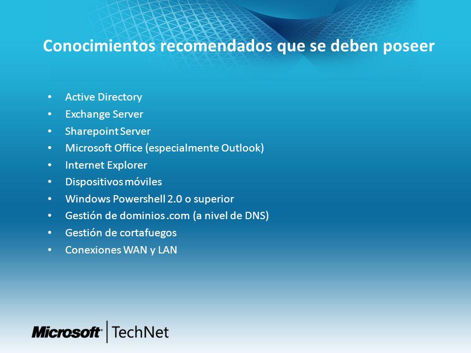 Conocimientos recomendados que se deben poseer Active Directory Exchange Server Sharepoint Server Microsoft Office (especialmente Outlook) Internet Ex