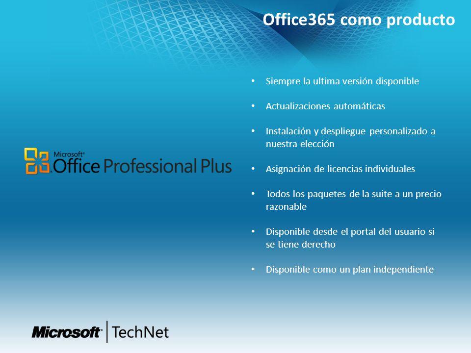 Office365 como producto Siempre la ultima versión disponible Actualizaciones automáticas Instalación y despliegue personalizado a nuestra elección Asi