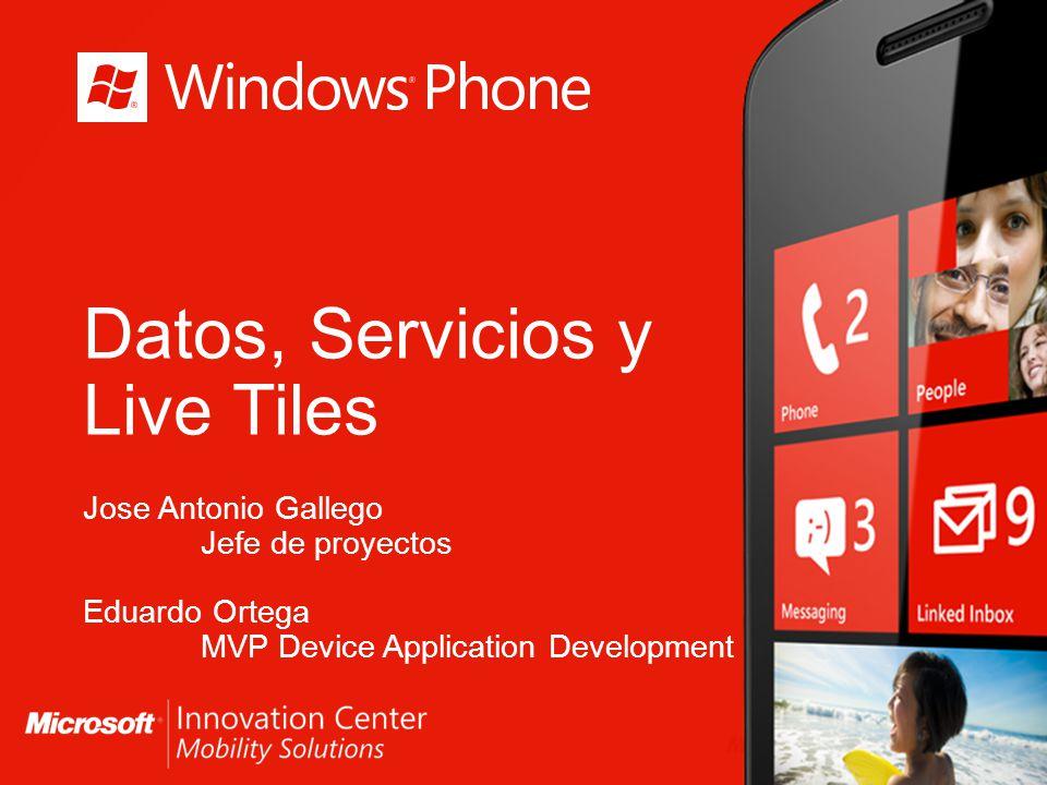 Datos, Servicios y Live Tiles Jose Antonio Gallego Jefe de proyectos Eduardo Ortega MVP Device Application Development