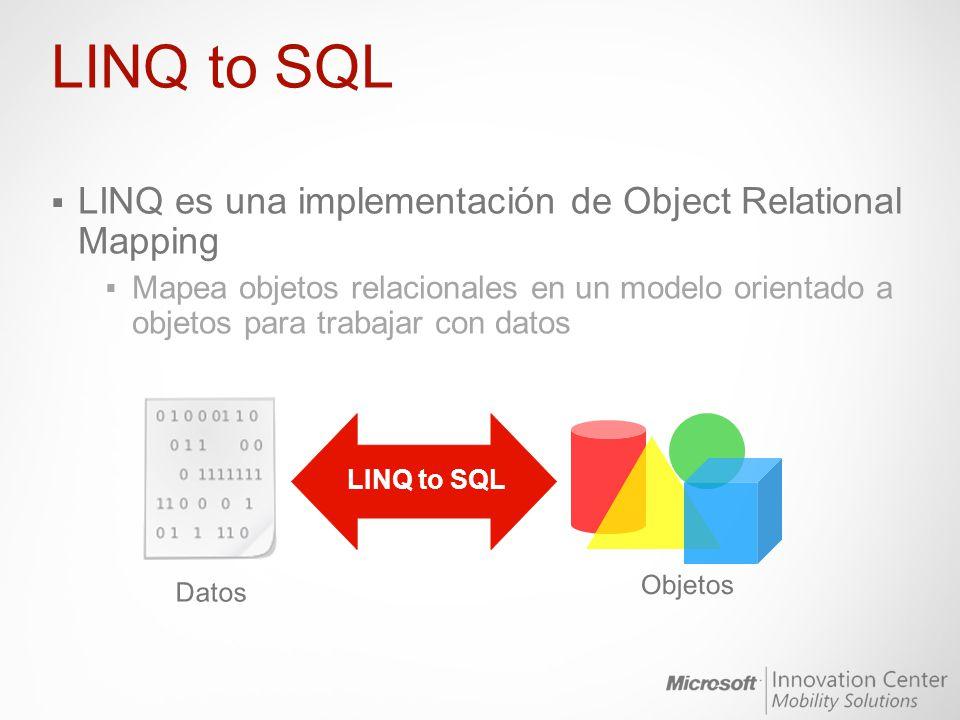 LINQ es una implementación de Object Relational Mapping Mapea objetos relacionales en un modelo orientado a objetos para trabajar con datos LINQ to SQ