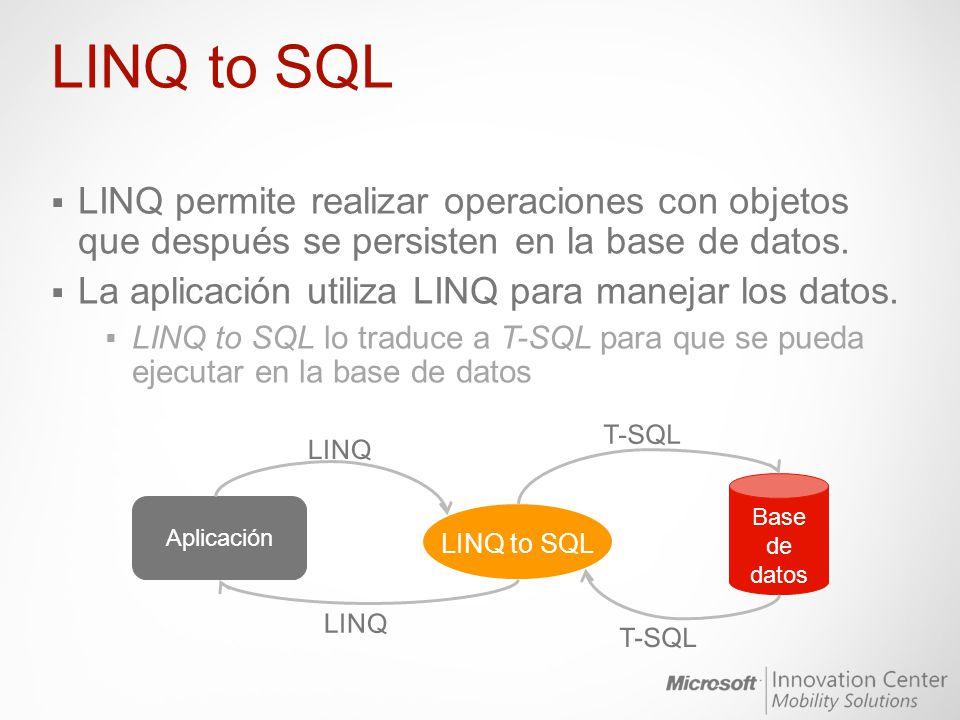 LINQ permite realizar operaciones con objetos que después se persisten en la base de datos. La aplicación utiliza LINQ para manejar los datos. LINQ to