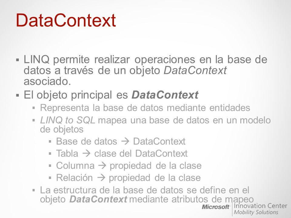 DataContext LINQ permite realizar operaciones en la base de datos a través de un objeto DataContext asociado. El objeto principal es DataContext Repre