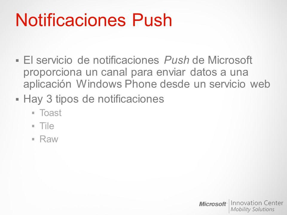 Notificaciones Push El servicio de notificaciones Push de Microsoft proporciona un canal para enviar datos a una aplicación Windows Phone desde un ser