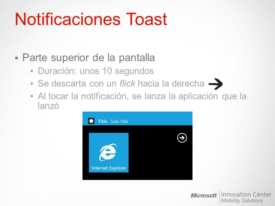 Notificaciones Toast Parte superior de la pantalla Duración: unos 10 segundos Se descarta con un flick hacia la derecha Al tocar la notificación, se l
