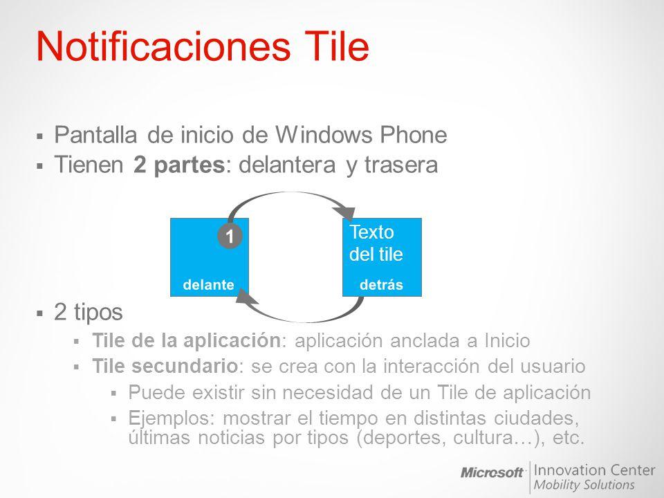Notificaciones Tile Pantalla de inicio de Windows Phone Tienen 2 partes: delantera y trasera 2 tipos Tile de la aplicación: aplicación anclada a Inici