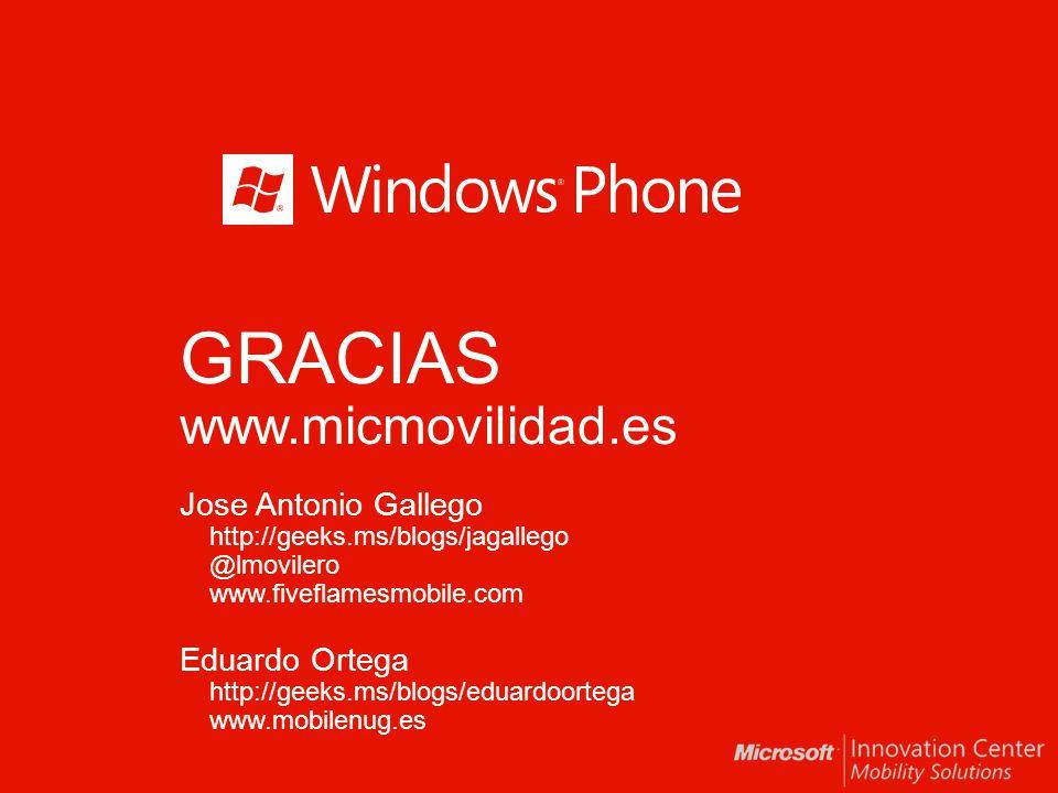 GRACIAS www.micmovilidad.es Jose Antonio Gallego http://geeks.ms/blogs/jagallego @lmovilero www.fiveflamesmobile.com Eduardo Ortega http://geeks.ms/bl
