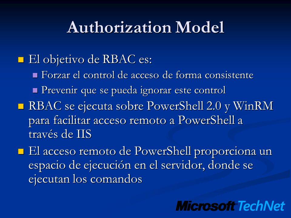 Authorization Model El objetivo de RBAC es: El objetivo de RBAC es: Forzar el control de acceso de forma consistente Forzar el control de acceso de fo