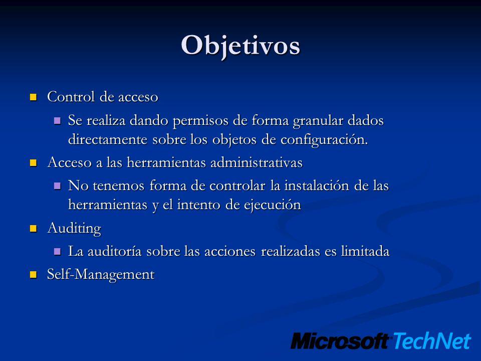 Objetivos Control de acceso Control de acceso Se realiza dando permisos de forma granular dados directamente sobre los objetos de configuración. Se re