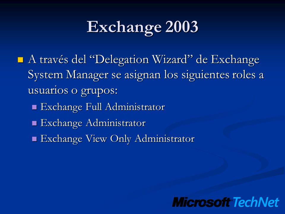 Exchange 2003 A través del Delegation Wizard de Exchange System Manager se asignan los siguientes roles a usuarios o grupos: A través del Delegation W