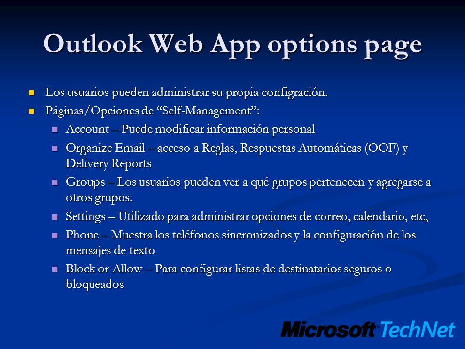 Outlook Web App options page Los usuarios pueden administrar su propia configración. Los usuarios pueden administrar su propia configración. Páginas/O