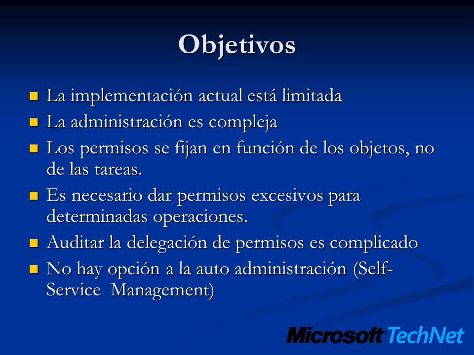 Objetivos La implementación actual está limitada La implementación actual está limitada La administración es compleja La administración es compleja Lo