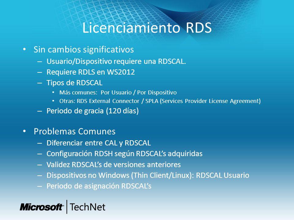 Licenciamiento RDS Sin cambios significativos – Usuario/Dispositivo requiere una RDSCAL. – Requiere RDLS en WS2012 – Tipos de RDSCAL Más comunes: Por