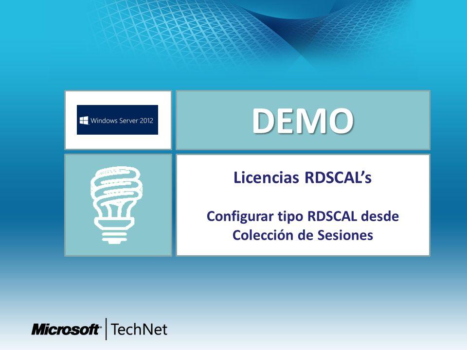 DEMO Licencias RDSCALs Configurar tipo RDSCAL desde Colección de Sesiones