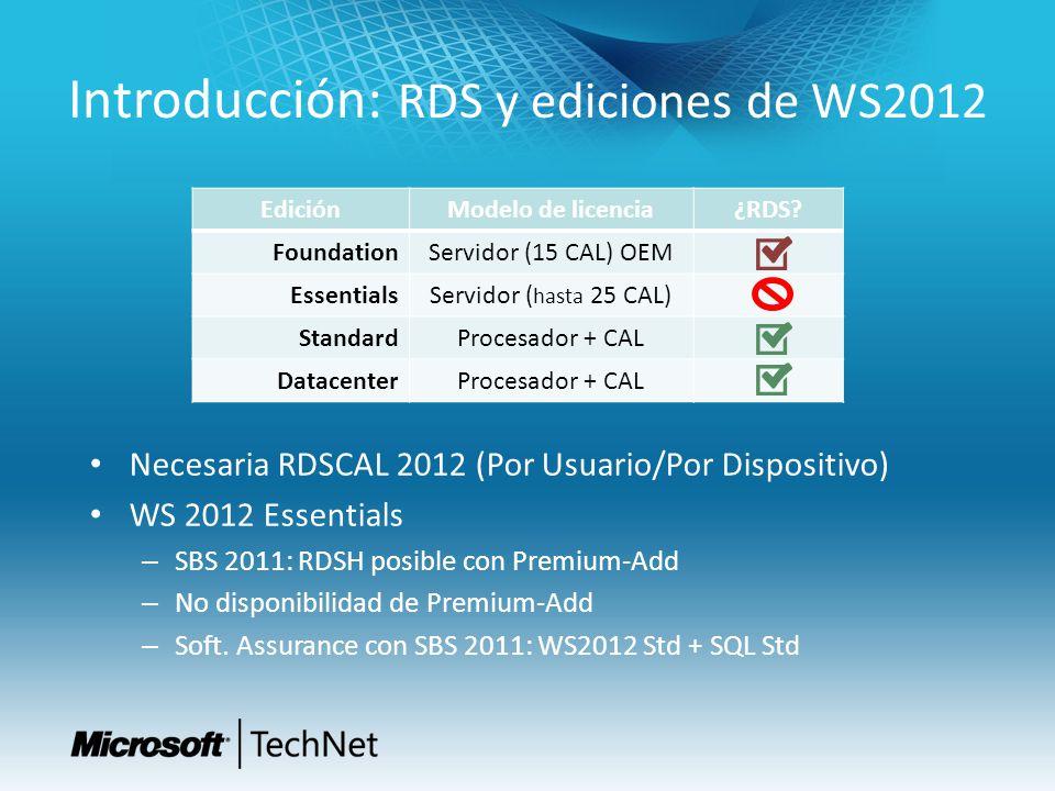 Introducción: RDS y ediciones de WS2012 Necesaria RDSCAL 2012 (Por Usuario/Por Dispositivo) WS 2012 Essentials – SBS 2011: RDSH posible con Premium-Ad
