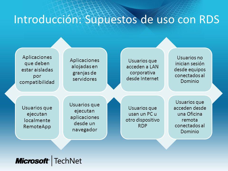 Recursos RDS Dashboard de Servicios de Escritorio Remoto – http://technet.microsoft.com/en-us/windowsserver/ee236407 http://technet.microsoft.com/en-us/windowsserver/ee236407 Technet Wiki – http://social.technet.microsoft.com/wiki/ http://social.technet.microsoft.com/wiki/ Remote Desktop Services Blog – http://blogs.msdn.com/b/rds/ http://blogs.msdn.com/b/rds/