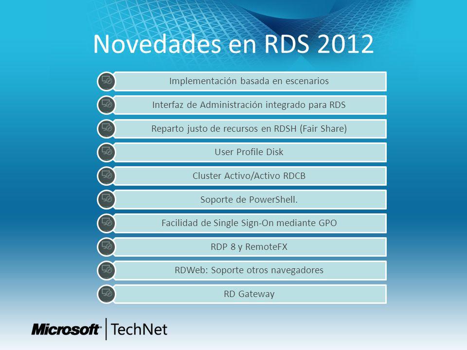 Novedades en RDS 2012 Implementación basada en escenarios Interfaz de Administración integrado para RDS Reparto justo de recursos en RDSH (Fair Share)