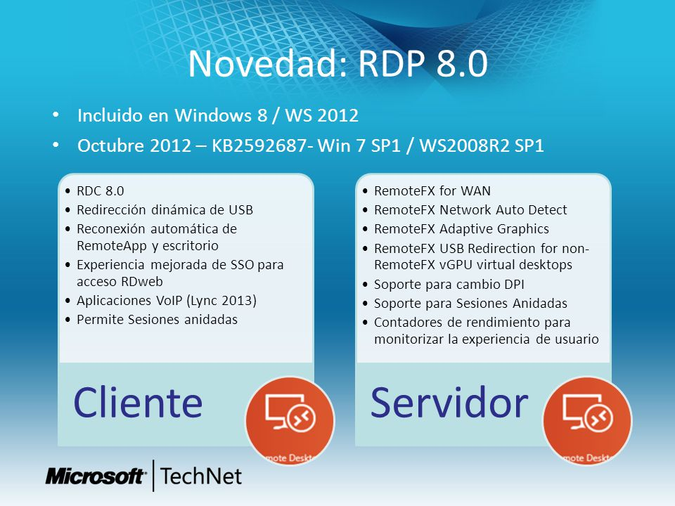 Novedad: RDP 8.0 Incluido en Windows 8 / WS 2012 Octubre 2012 – KB2592687- Win 7 SP1 / WS2008R2 SP1 RDC 8.0 Redirección dinámica de USB Reconexión aut