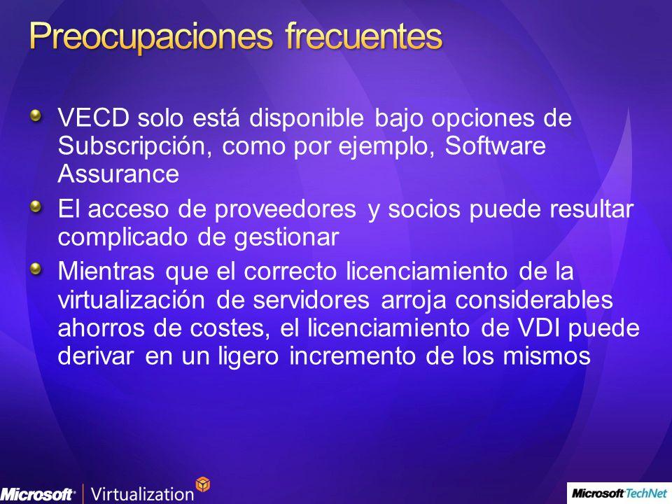 VECD solo está disponible bajo opciones de Subscripción, como por ejemplo, Software Assurance El acceso de proveedores y socios puede resultar complic